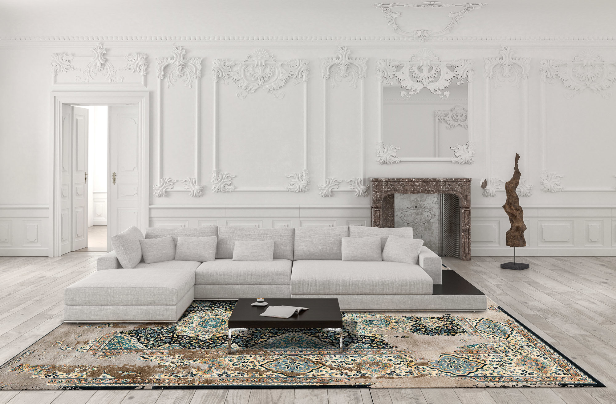 Interior of modern room with persian rug 3D rendering